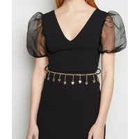 Gold Heart Drape Chain Belt New Look