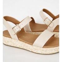 Wide Fit Cream Espadrille Footbed Flatform Sandals New Look Vegan