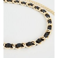 Gold Woven Leather-Look Chain Belt New Look