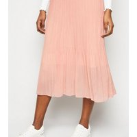 Pale Pink Chiffon Pleated Midi Skirt New Look