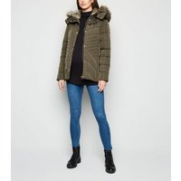 Maternity Khaki Faux Fur Trim Fitted Puffer Jacket New Look
