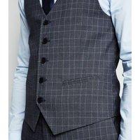 Blue Check Waistcoat New Look