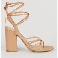 Camel Leather-Look Block Heel Ankle Tie Sandals New Look Vegan