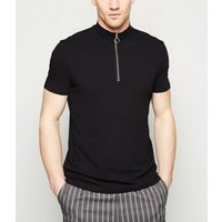 Black Ring Zip Turtle Neck T-Shirt New Look