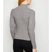 Cameo Rose Pale Grey Ribbed Puff Sleeve Jumper New Look