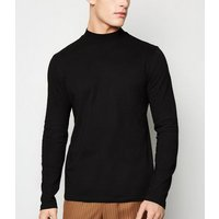 Black Long Sleeve High Neck Top New Look