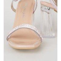 Pale Pink Patent Diamante Clear Block Heels New Look Vegan
