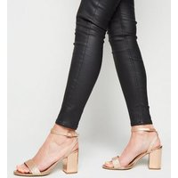 Wide Fit Rose Gold Glitter Strap Mid Heel Sandals New Look Vegan