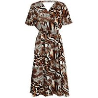 Cutie London Brown Mixed Animal Print Dress New Look