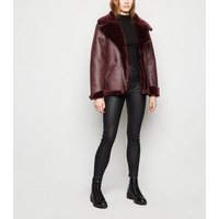Sunshine Soul Burgundy Faux Fur Aviator Jacket New Look