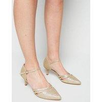 Wide Fit Gold Glitter Kitten Heel Court Shoes New Look