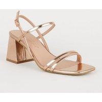 Rose Gold 2 Strap Flared Block Heel Sandals New Look