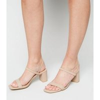 Cream Leather-Look Elastic Strap Heeled Sandals New Look