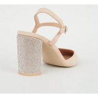 Pale Pink Suedette Gem Heel Pointed Court Shoes New Look Vegan