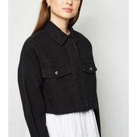 Petite Black Cropped Denim Lightweight Jacket New Look