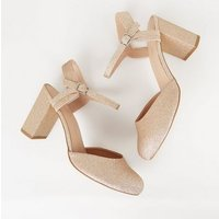 Wide Fit Rose Gold Glitter Round Toe Courts New Look
