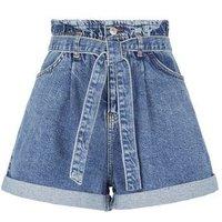 Petite Blue Tie High Waist Denim Shorts New Look