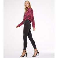 Petite Black Washed Mid Rise Super Skinny Jeans New Look