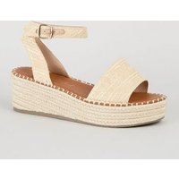 Wide Fit Off White Woven Espadrille Flatforms New Look