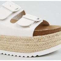 White Footbed Chunky Flatform Espadrille Sliders New Look