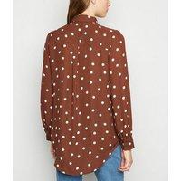 Brown Spot Dip Hem Long Sleeve Shirt New Look