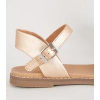 Girls Rose Gold Glitter Footbed Sandals New Look Vegan