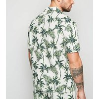 White Tropical Palm Short Sleeve Shirt New Look