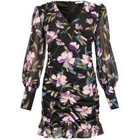 Gini London Black Floral Ruched Dress New Look
