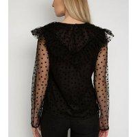 Gini London Black Heart Mesh Ruffle Top New Look
