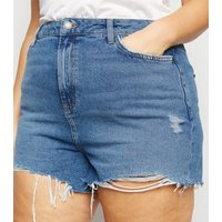 Curves Blue High Waist Denim Mom Shorts New Look