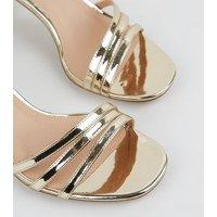 Gold Metallic 2 Part Mid Stiletto Sandals New Look