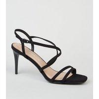 Black Suedette Strappy Stiletto Sandals New Look Vegan