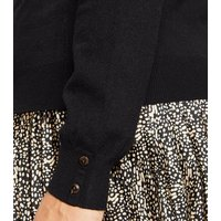 Apricot Curves Black Roll Neck Button Sleeve Jumper New Look