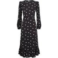 Black Spot Frill Peplum Hem Midi Dress New Look