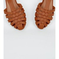 Girls Tan Leather-Look Caged T-Bar Shoes New Look