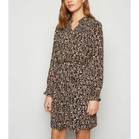JDY Black Floral Shirred Mini Dress New Look