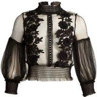 Cutie London Black Floral Lace Mesh Top New Look