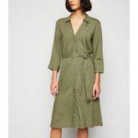 JDY Khaki Stripe Midi Shirt Dress New Look