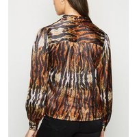 Pink Vanilla Brown Tiger Print Satin Shirt New Look