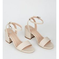 Girls Cream 2 Part Block Heel Sandals New Look