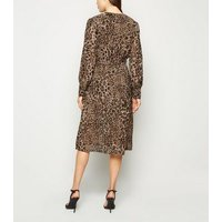 Influence Brown Chiffon Leopard Print Dress New Look