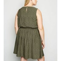 Curves Green Floral Sleeveless Dress New Look