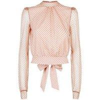Pink Spot Mesh Tie Back Top New Look