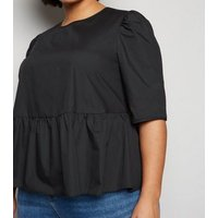 Curves Black 1/2 Sleeve Poplin Top New Look