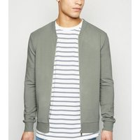 Olive Jersey Muscle Fit Bomber Jacket New Look