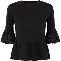 Petite Black Broderie Trim Peplum T-Shirt New Look