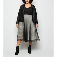 Curves Black Glitter Mesh Pleated Skirt New Look