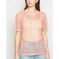 Mid Pink 3D Mesh Floral Top New Look
