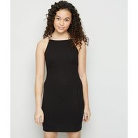 Girls Black Ribbed Mini Dress New Look
