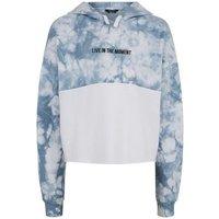 Girls Blue Tie Dye Colour Block Slogan Hoodie New Look